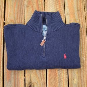 Polo By Ralph Lauren: Navy bl Large Zip up sweater